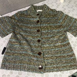 Liz Claiborne Lg Button Up Short Sleeve Cardigan